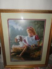 Home Interiors '' Girl with Cockier Spaniel '' Picture Gorgeous