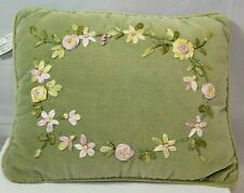 Lovely Green Embroidery Pink Yellow Flowers Rectangular Cotton Decorative Pillow