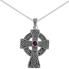 New  Oxidised Silver and Amethyst Roundhead Cross Pendant and Chain Jewellery