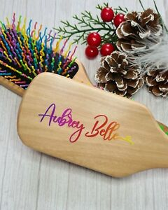 Personalised Wooden Hair Brush with Name/phrase Gift Idea in rainbow valentines