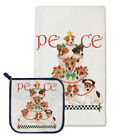 Jack Russell Terrier Holiday Dish Towel & Pot Holder Set