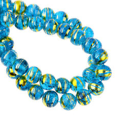 50 X BLUE GLASS CRACKLE BEADS WITH GOLD BANDING 8 MM 31084