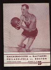 1961 NBA Doubleheader Basketball Program @ New York Knicks