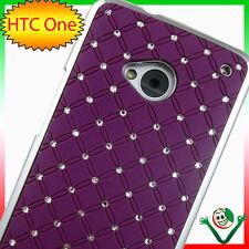 Funda BRILLO LUZ para HTC One M7 VIOLA cubierta rígido plata