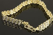 Real 10K Yellow Gold & White Gold Two Row Tennis Bracelet in Diamond Cut Design