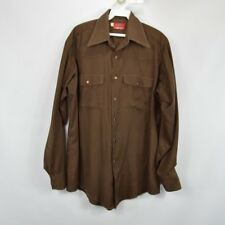 Vintage 70s Dickies Mens 15.5 Red Label Long Sleeve Snap Button Western Shirt
