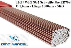 5KG WIG Schweißstäbe 1,6 x 1000mm ER70S-6-3 Stäbe Stahl SG2 WSG2