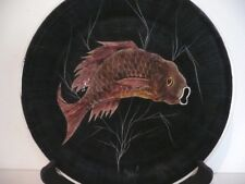 J.C.LE MAO : Bretagne , assiette émaillé , décor de poisson , peint main signé