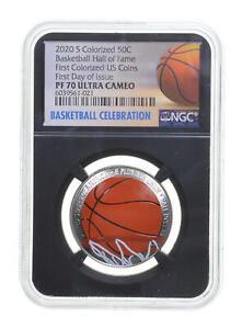PF70 2020 S Basketball HOF Commemorative Colorized Half Dollar FDOI NGC *0827