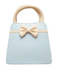 NEW Banned Apparel 50s Vintage Polka Dot Women Bow Purse Handbag Baby Blue Cream