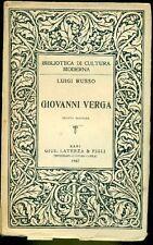 RUSSO Luigi, Giovanni Verga. Laterza 1947