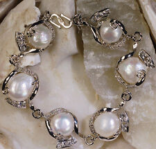 Fashion Women's 10-11mm Natural White Baroque Freshwater Pearl Bracelet