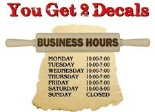 2 Personalized Bakery Hours Decals Store Front Display Case Supplies Stickers