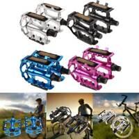 "1 Pair Aluminium Alloy Mountain Road Bike Bicycle 9/16"" Flat Bearing Wide Pedals"