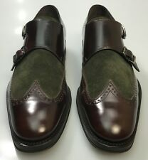 FERRAGAMO SHOES BURGUNDY/OLIVE CALF/SUEDE WINGTIP CYRIL DUAL MONKSTRAP 9D 42