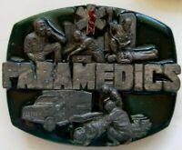 Vintage 1992 Paramedics Belt Buckle Siskiyou Buckle Co. Enameled 3D Pewter