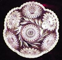 Gorgeous Cut Glass Crystal Bowl Flowers Hobstars Leaves Large A Vintage Beauty