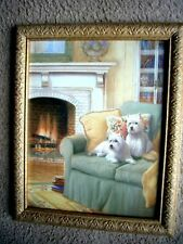 """Vintage Home Interiors - Westies Parlor Picture - J. Gibson- 16"""" H X 13"""" W- Vgc"""