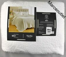 Martha Stewart Collection Stenciled Leaves Full / Queen Quilt White