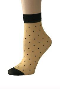 6x Pairs Multicolours Polka Dots Ankle High Ultra Thin Denier Sheer Pops Socks