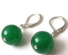 Jewellery 10mm Green Jade Bead Silver Clasp Earrings