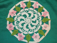 Vintage doily cotton crochet pink roses, hand made 1970's one-off item