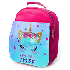PERSONALISED Lunch Bag UNICORN Insulated Pink School Girls Snack Box KS33