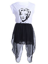 Women's S/M Fit White and Black Marylin Icon Print Pointed Hem Overlay Dress