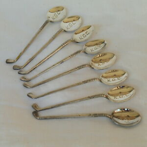 Vintage Art Deco Matching Set of 8 Golf Club Sterling Silver Tea Spoons