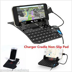 New Car Holder Dashboard Stand USB Mount Charger Cradle Non-Slip Pad for Phone