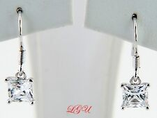 Sterling Silver CZ Princess Cut Fish Hook Earrings 5MM
