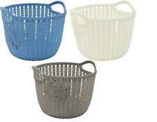Rattan Plastic STRONG Storage Caddy Baskets With Handle Easy Cupboard Shelf Tidy