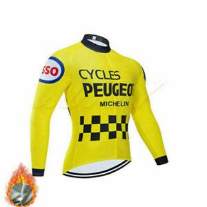 Mens Thermal Long Sleeve Cycling Jersey Bike Racing Top Bib Pants Set Sport Kit