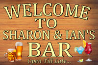 NEW! PERSONALISED LARGE METAL BAR SIGN PERFECT FOR BAR, SHED, CAVES ETC!! (C)