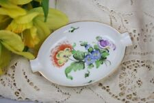 Herend Ashtray Signed Orange Yellow Blue Purple Flowers Gold Trim  Oval