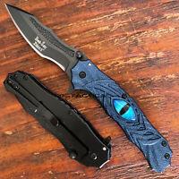 Lack with Blue Flame Blade Black Dragon Blue Aluminum Handle Folder 4.75 Folder Black with Blue Flame Blade Black Dragon Blue Aluminum Handle with Pocket Clip Folding Knife