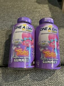 (LOT OF 2) One A Day Kids Trolls Complete Multivitamin Gummies-180 Ct Exp 7/21