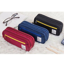 Zipper Pencil Case Twill Canvas Large Pen Box For Student School Station xe