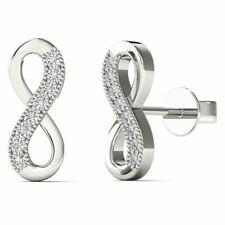 10Kt White Gold Genuine Natural Diamond Infinity Stud Earrings