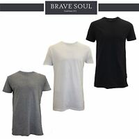 Mens Brave Soul Longline Short Sleeve Plain Crew Neck T-Shirt Casual Summer Top