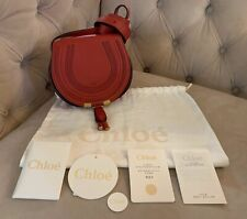 New Chloe Mini Marcie Leather Crossbody Shoulder Bag Earthy Red Bright Red NWT!!