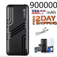 Portable 900000mAh Power Bank 2USB LED External Battery Fast Charger Backup NEW