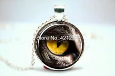 Glass Dome Cabochon Pendant Chain NECKLACE Gothic Steampunk : Panther Cat Eye