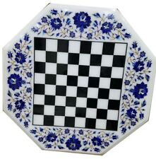 """18"""" chess game Table Top pietra dura lapis handcrafted inlay work decor"""