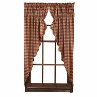 BURGUNDY CHECK Scalloped Prairie Curtain Set Rustic Primitive Khaki Country