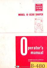 Barber Colman Model 10 Gear Shaper Operations Manual Year 1972