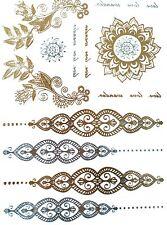 Metallic Tattoo, Flash Tattoo, Fake Tattoo, einmal Gold / Silber Tatoos F13