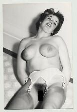 Snapshot Of Busty Mature Nude On Floor / Suspenders (Vintage Photo B/W 50s)
