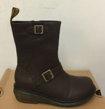 DR. MARTENS KARIN RICH BROWN    BROADWAY  LEATHER  BOOTS SIZE UK 8