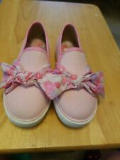 AMERICAN GIRL WELLIE WISHERS PINK SLIP-ON w/FLORAL BOW CANVAS SHOES YOUTH 13